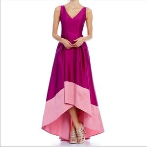 Adrianna Papell Hi Low v neck long gown dress NWT